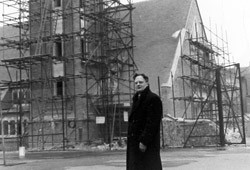 Fr Tollemache during construction of the present church building