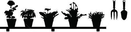 flower pots silhouette