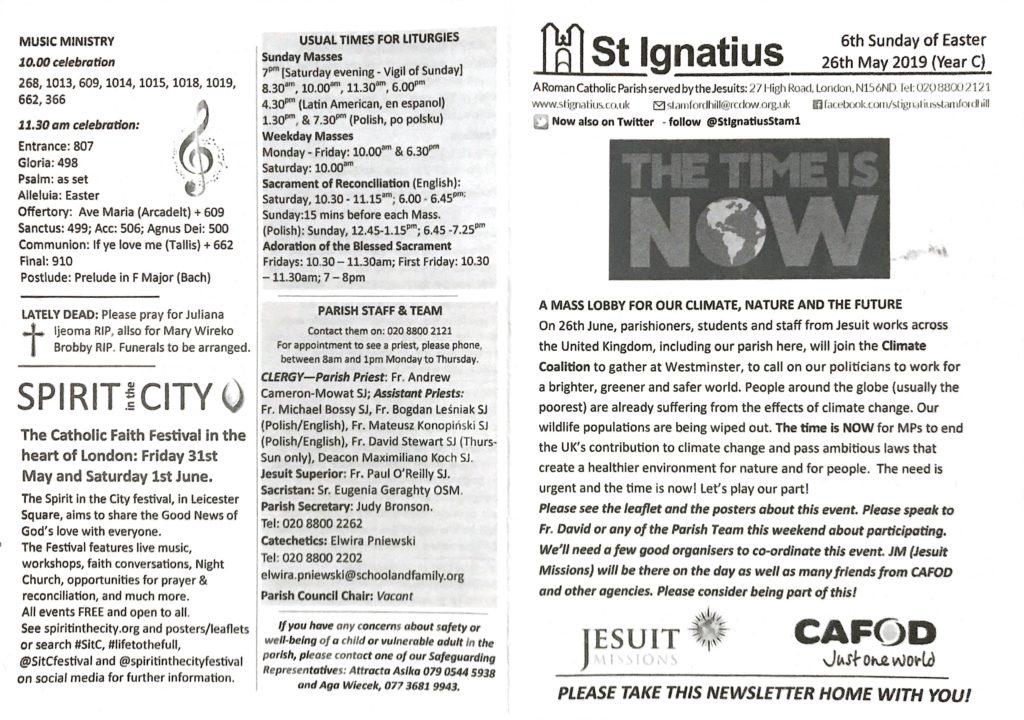Parish Newsletter for Sunday 26th May 2019 | Roman Catholic