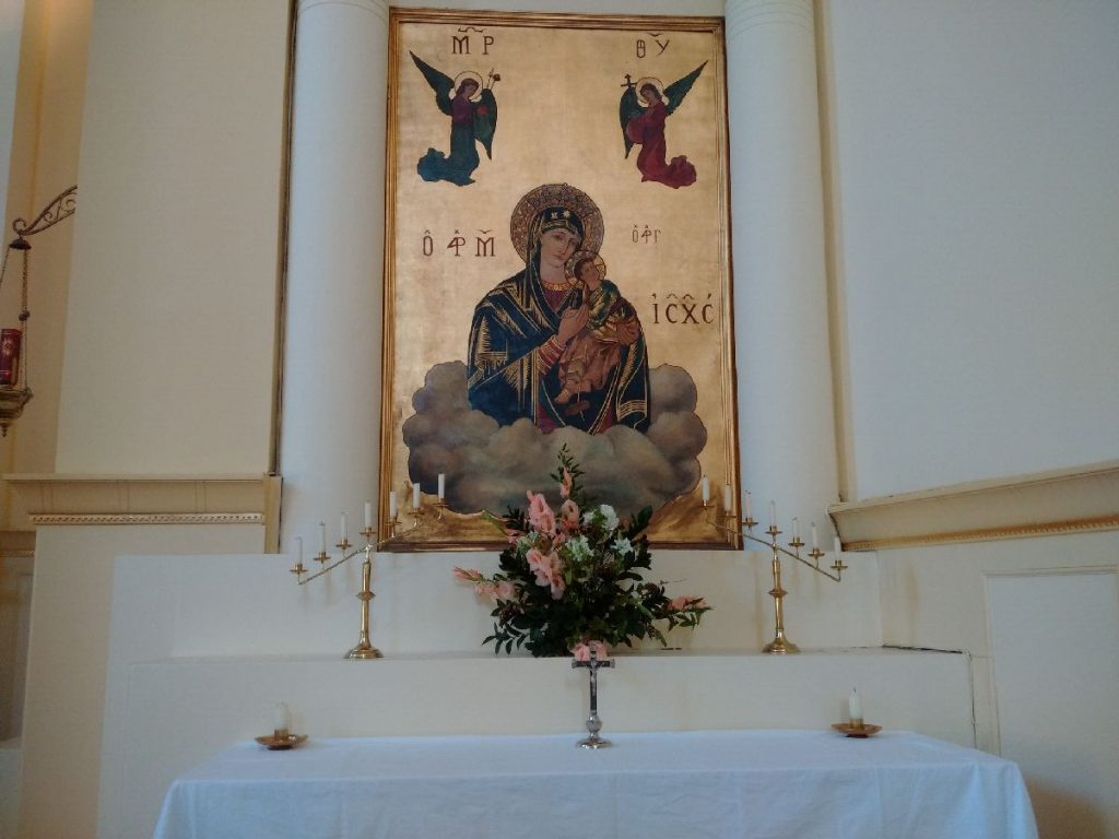 The altar in front of the icon Our Lady of Perpetual Help where we celebrate some of the weekday masses