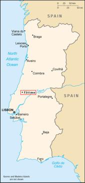 Location of Fátima, Portugal.