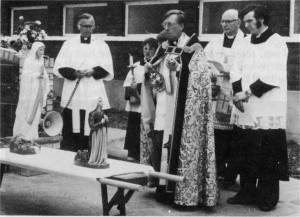 c.1979: Blessing the Statues for the Lourdes Grotto: Fr. Charles Mercer.