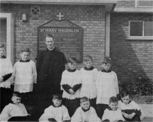 c.1946: Fr. Bryant with altar servers.