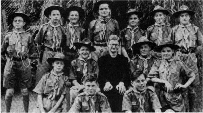 1950: Fr. Brian Connaughton with Scout pilgrims.