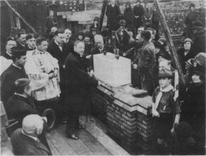 24 March 1928: Laying the Foundation Stone of the Elementary School: Fr. Arendzen, Dr. Vaughan, the Duke of Marlborough.